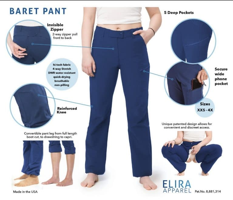 Women's Apparel - - ELIRA Apparel  - Freedom to pee! - The Elira pants allow you to pee when nature calls, without your pants down around your knees. Say goodbye to those awkward and embarrassing moments.